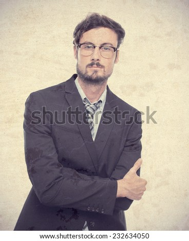 young crazy businessman proud pose - stock photo