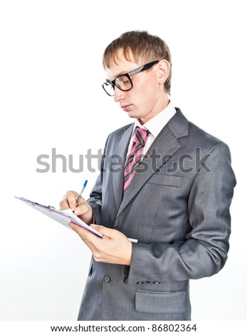 young crazy guy with documents in hand, isolated over white