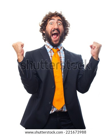 young crazy man celebrating gesture - stock photo