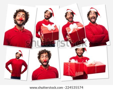young crazy man christmas concept - stock photo