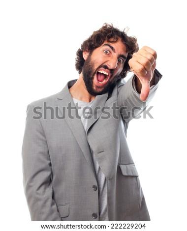 young crazy man disagree gesture - stock photo
