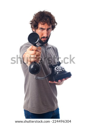 young crazy man offering a phone - stock photo