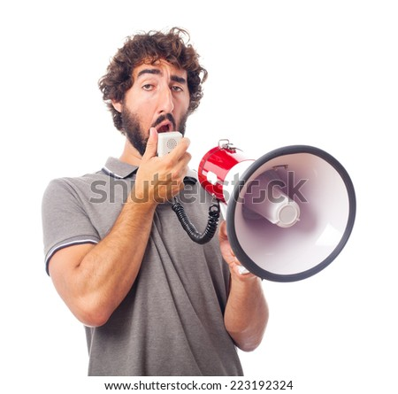 young crazy man suberb with a megaphone - stock photo