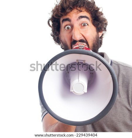 young crazy man with a megaphone - stock photo