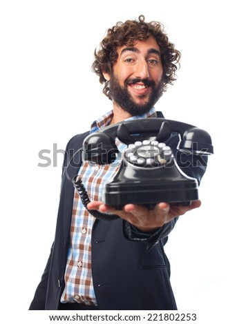 young crazy man with a telephone