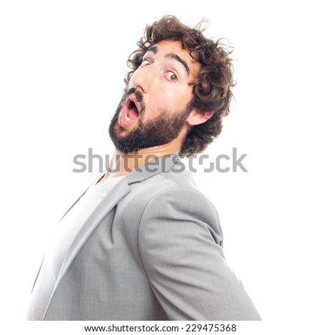 young crazy man with back pain - stock photo