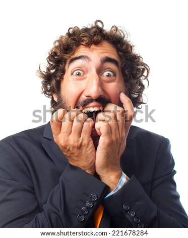 young crazy scared man - stock photo