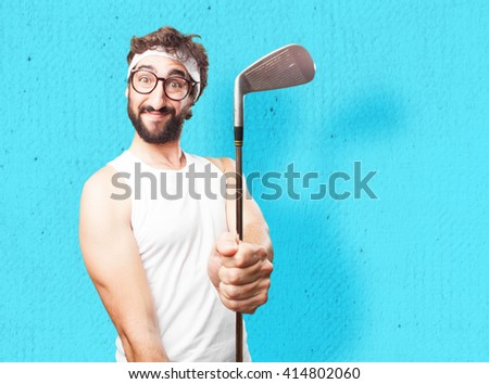 young crazy sports man. happy expression - stock photo