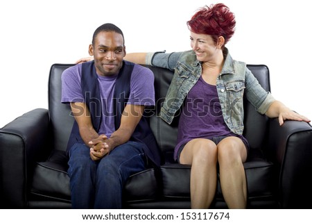 young crush between black male and white female - stock photo