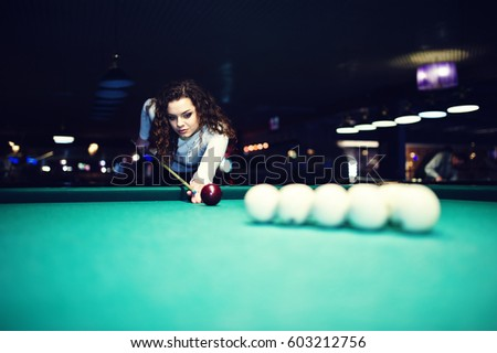 Young Curly Girl Posed Near Billiard Stock Photo Royalty Free - Play pool table near me