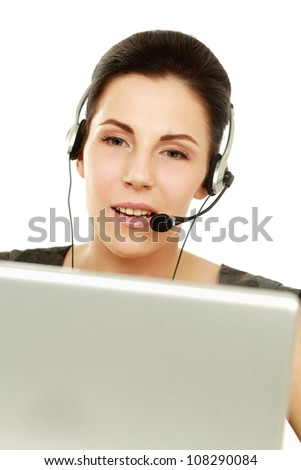 Young customer service operator with laptop isolated