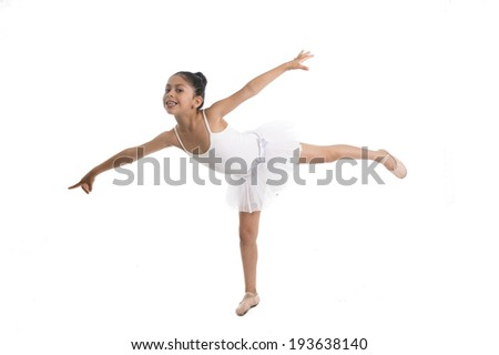 young cute Ballet dancer ballerina dancing wearing a white tutu on a white background - stock photo