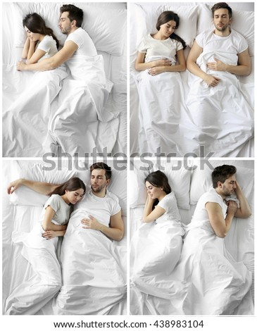 Young cute couple sleeping together in bed. - stock photo