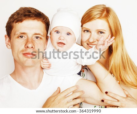 young cute happy modern family, mother father son isolated on white - stock photo