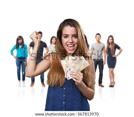 young cute woman holding bank notes - stock photo