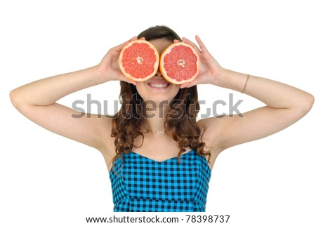 young cute woman in blue dress with fresh fruit