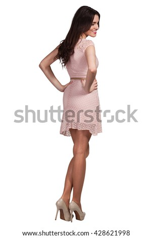 Young cute woman posing on white background - stock photo