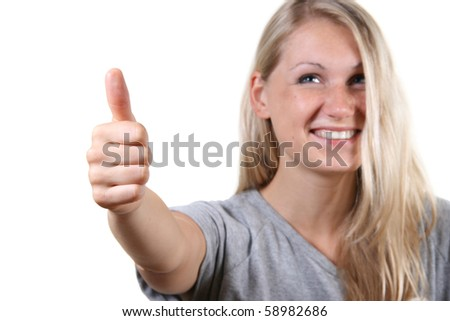 young cute woman with thumbs up