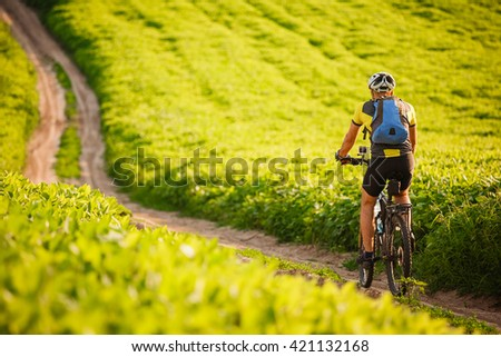 Young cyclist cycling in the spring meadow