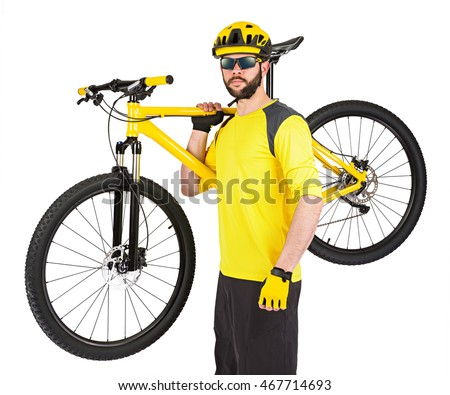 young cyclist with beard and yellow mountain bike on his shoulder isolated on white background