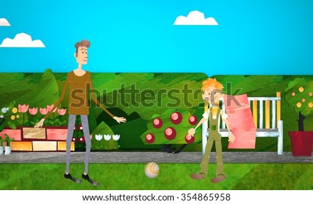 Young 3d father with his little 3d son playing football on football pitch - stock photo
