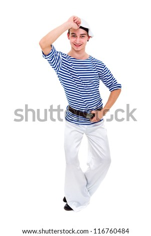 young dancer dressed as a sailor posing on an isolated white background - stock photo