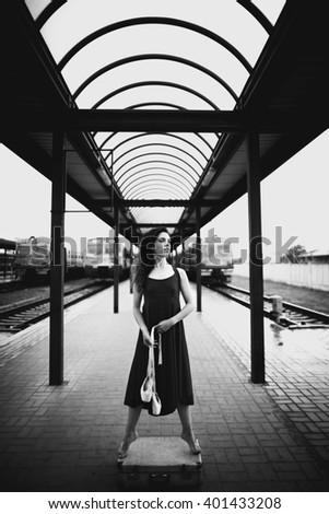 young dancer spends time at the station - stock photo