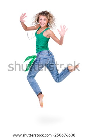young dancer woman  jumpingagainst isolated white background - stock photo