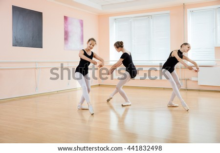 Young dancers at ballet class  - stock photo