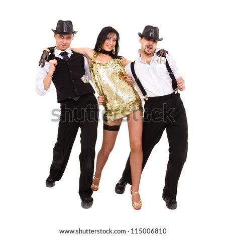 young dancers dancing on a white background - stock photo