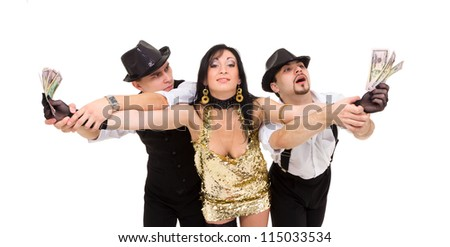 young dancers posing with money on a white background - stock photo