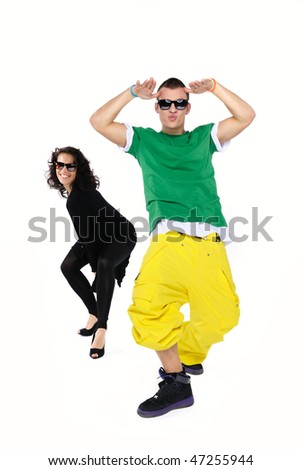 Young dancing couple, isolated on white - stock photo
