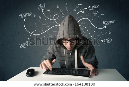 Young dangerous hacker with white drawn line thoughts - stock photo