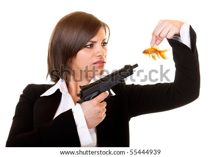young  dangerous woman holding one gold fish and gun