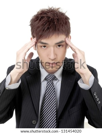 Young desperate man head in his hands clasped. isolated on white - stock photo