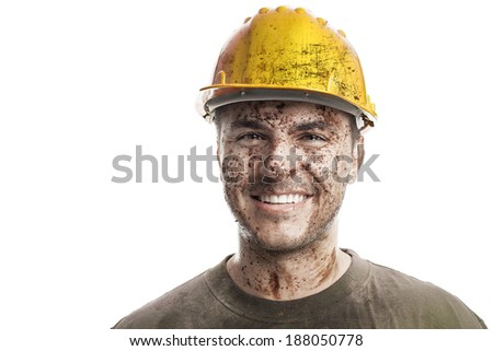 Young dirty Worker Man With Hard Hat helmet isolated on White Background - stock photo
