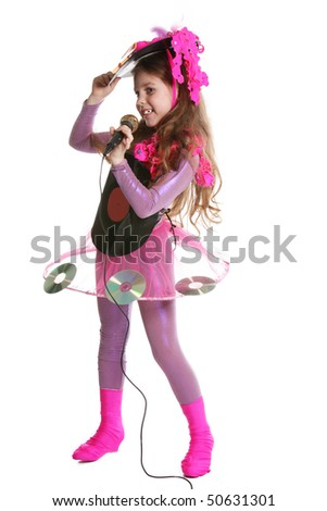 Young disco girl with microphone on white background