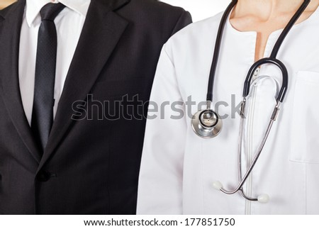 Young doctor and businessman have a meeting - stock photo