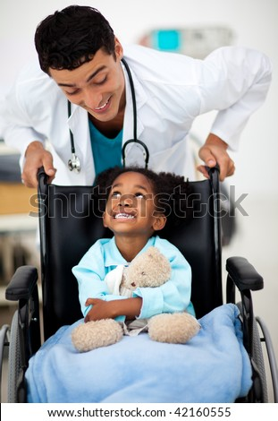 Young Doctor helping a sick child