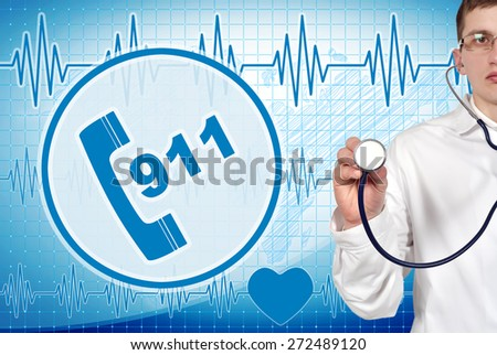 Young doctor holding stethoscope with 911 symbol on background - stock photo