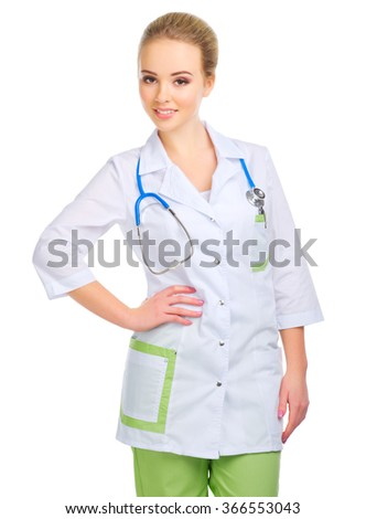 Young doctor in uniform isolated