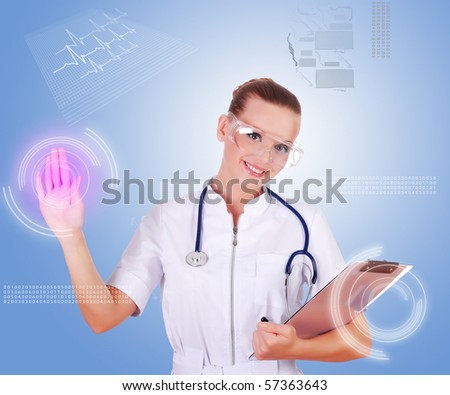 Young doctor in white uniform, transparent glasses and a stethoscope clicks on virtual buttons. Collage.