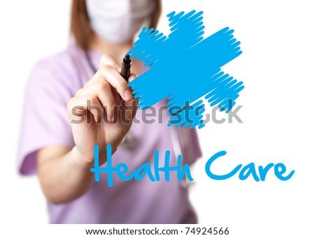 Young doctor is drawing some graphics. isolated on white background. selective focus
