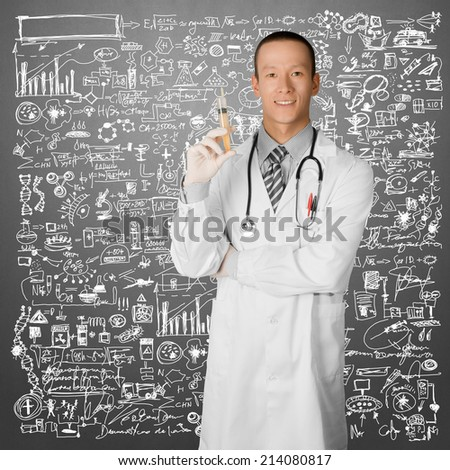 young doctor man with stethoscope against different backgrounds