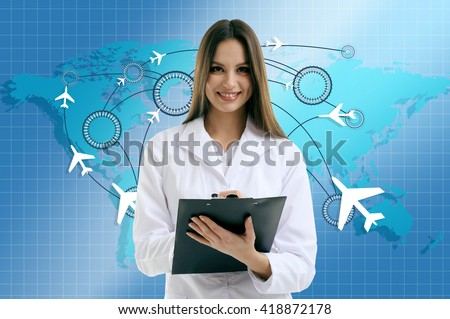 Young doctor on virtual background. Medical tourism concept
