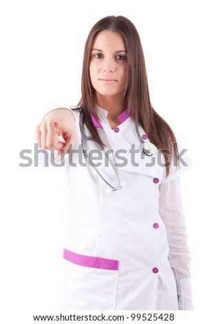 Young doctor pointing forward