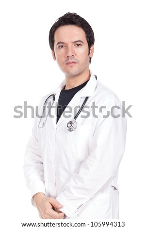 young doctor standing with a stethoscope on the neck