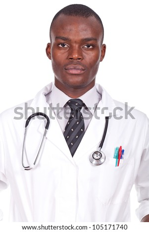 young doctor standing with a sthetoscope on the neck - stock photo