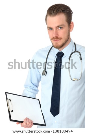 Young doctor wearing a blue shirt with a blue tie, with a stethoscope around his neck. White background. - stock photo