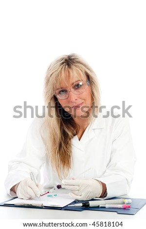 Young doctor with a blood sample